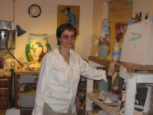 Bea at her ceramic sculpture studio, May 2007, photo by Linna Muschlitz