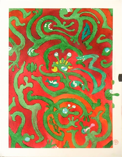 green on red people abstracted swirls