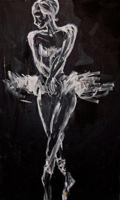 """Black and White Ballerina,"" painting by Al Preciado, copyright 2013"