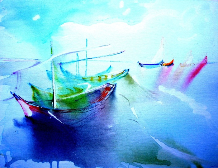 """""""Boats to Gogh (brightened),"""" painting by Lynn Rogers, copyright 2013"""