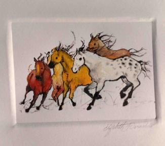 """Cinco Hermanos (5 Brothers),"" monoprint by Elizabeth Parashis, copyright 2014"