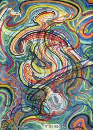 """Gaia Dances,"" watercolor by Erik Kaye, copyright 2014"