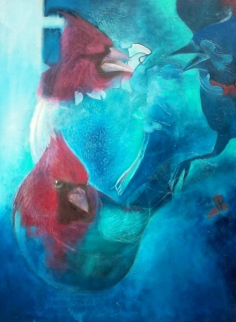 Cardinals Breaking Through by Jennifer Cordiglia, acrylic 2016
