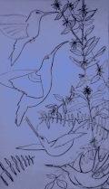 """Hummingbirds Rising"" drawing by Bea Garth, copyright 2017"