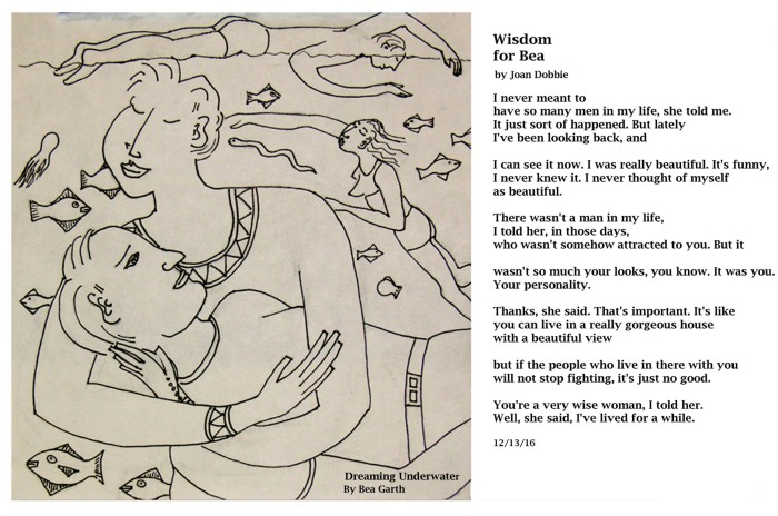 """Wisdom"" poem by Joan Dobbie; ""Dreaming Underwater"" pen and ink by Bea Garth, copyright 2017"