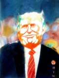 """Trumperica"" watercolor by Erik Kaye, copyright 2017"