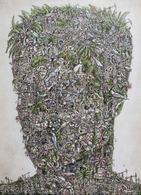 """Self Portrait,"" acrylic on canvas by Alexis Duque, copyright 2015"