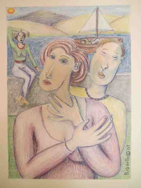 """Date At The Waterfront,"" colored pencil on paper by Bea, copyright 2007"