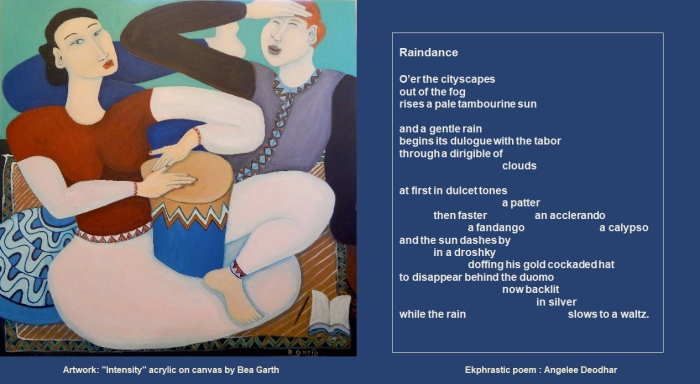 """Raindance,"" ekphrastic poem by Angelee Deodhar and painting by Bea Garth"